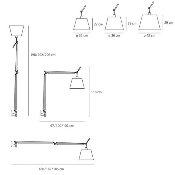 Artemide :: Tolomeo Mega parete (czarna '32) on-off